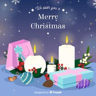 キャンドル、装飾、クリスマス、背景