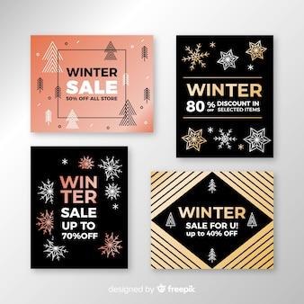 Набор плоских зимних распродаж