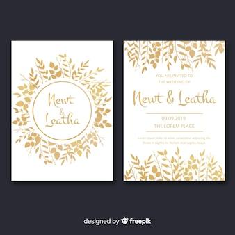Коллекция золотых цветочных открыток