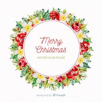 水彩花クリスマスの花輪の背景