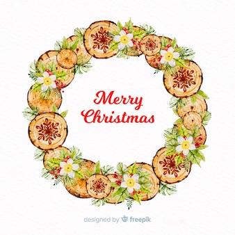 木のクリスマスの花輪の背景