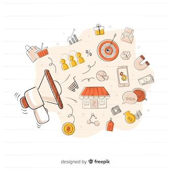 手描きのマーケティングキャンペーンの背景
