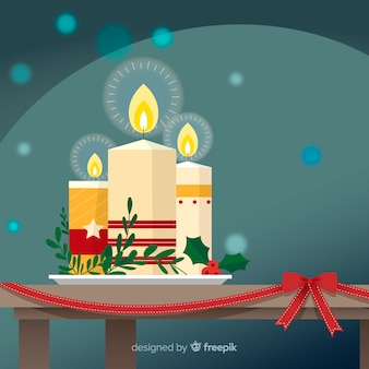 テーブル上のクリスマスキャンドル