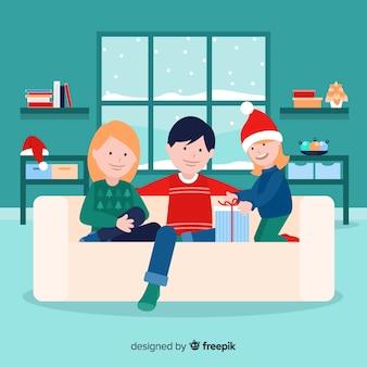 フラットなクリスマスの家族のシーン