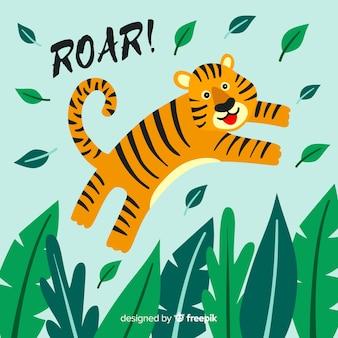 かわいい虎の背景をジャンプ