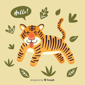 タイガー、葉、背景
