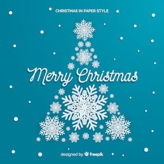 スノーフレーククリスマスツリー紙スタイルの背景