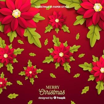 お祝いクリスマスの赤い花の背景