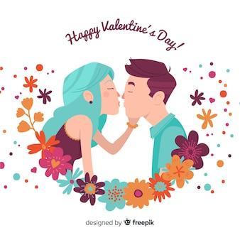 カップルのバレンタインデーの背景にキス