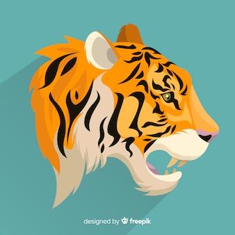 開いた口の虎の背景