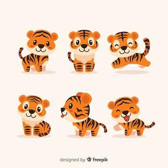 Симпатичный набор тигров