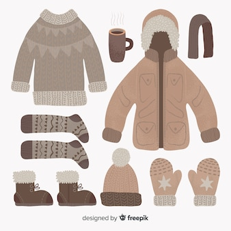 冬の洋服と必需品コレクション