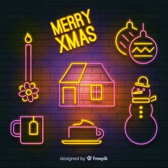 クリスマスの要素ネオンサイン