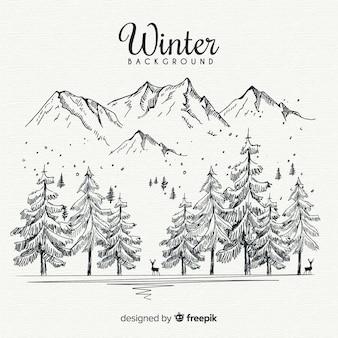 手を引く冬の風景の背景