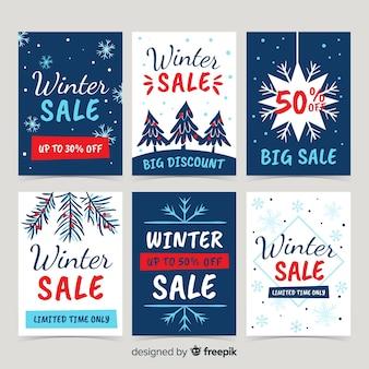 手描きの冬のセールカードセット