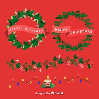 クリスマスボーダーとフレームの素敵なセット