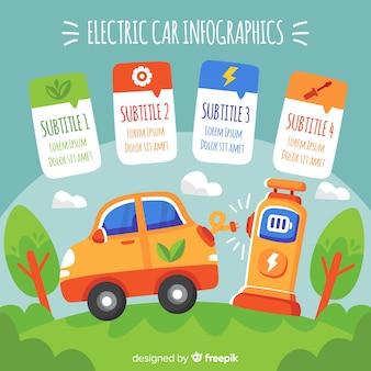 Электрический автомобиль в парке инфографический
