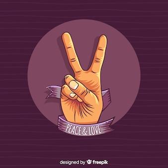 リボンの手の平和サインの背景