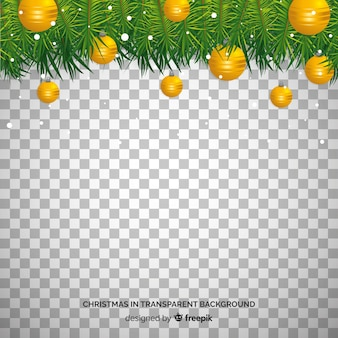 クリスマスボールと松の枝の透明な背景