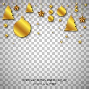 クリスマスの黄金の装飾品の透明な背景