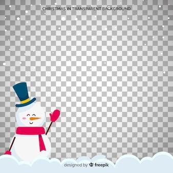 Снеговик с цилиндром и шарфом прозрачный фон