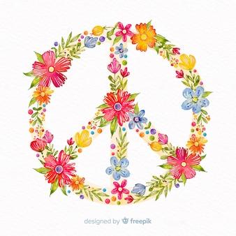 花の平和サインの背景