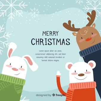 フレンドリーな動物クリスマスの背景