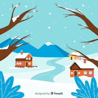 Плоский фон зимнего пейзажа