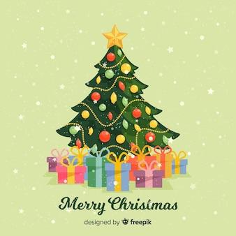プレゼント付きクリスマスツリーの背景