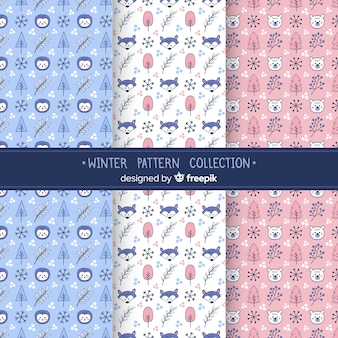 フラットな冬のパターンのコレクション
