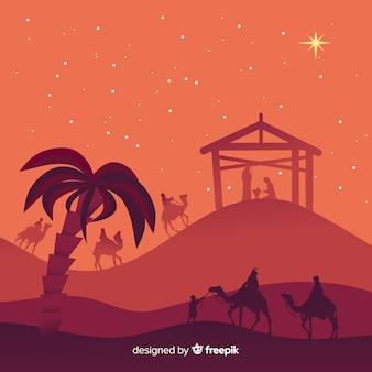 フラットクリスマスの野生のシーン