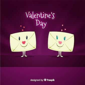笑顔の封筒バレンタインデーの背景