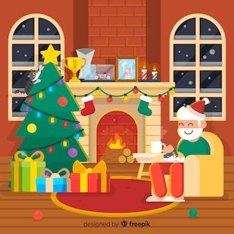 Санта рождественские камин фона
