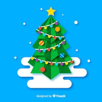 フラットなクリスマスツリーのイラスト