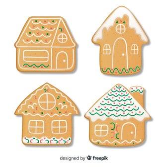 Рождественский ручной рисованной пряничный дом пакет