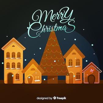 ジンジャーブレッド町のクリスマスの背景