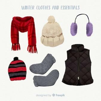 水彩冬の服と本質