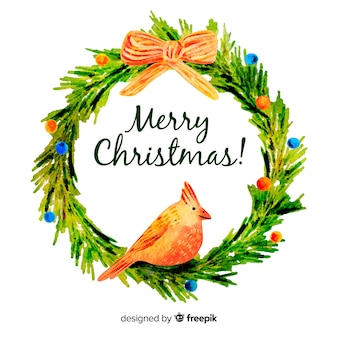 鳥とクリスマスの花輪