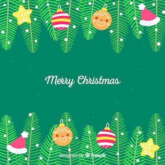 手描きのクリスマスツリーの枝の背景