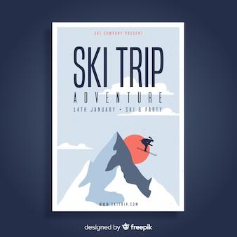 スキー旅行のフライヤーテンプレート