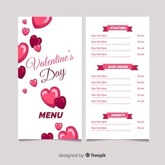 Шаблон меню «день святого валентина»