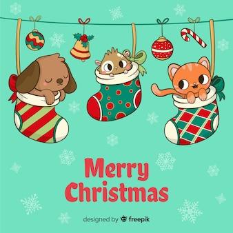 靴下のクリスマスの背景の動物