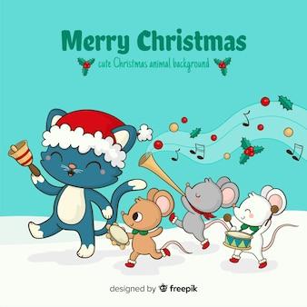 動物のパレードクリスマスの背景