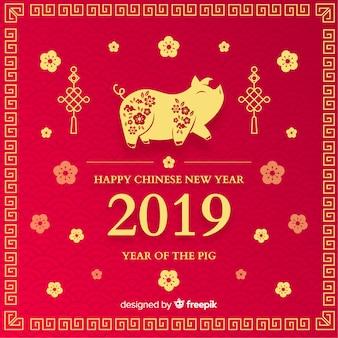 豚の中国の新年の背景