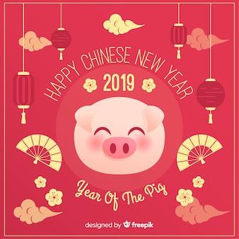 豚顔中国の新年の背景
