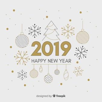 平らな要素の新年の背景