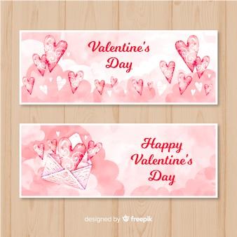 水彩の封筒バレンタインバナーのバナー