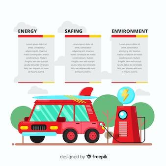 Плоская электромобильная инфографика