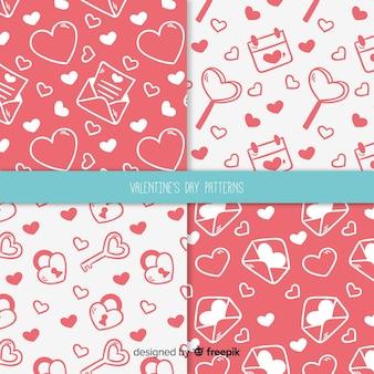 手描きのバレンタインデーのパターン