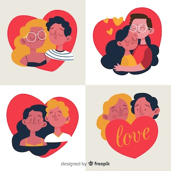 手描きのバレンタインデーカップルパック